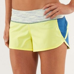 Lululemon RUN: Speed Shorts Blue Clarity Yellow 6